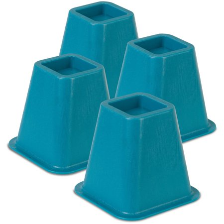 Honey Can Do 5.25-Inch Plastic Polymer Bed Risers, Multiple Colors (Pack of 4)