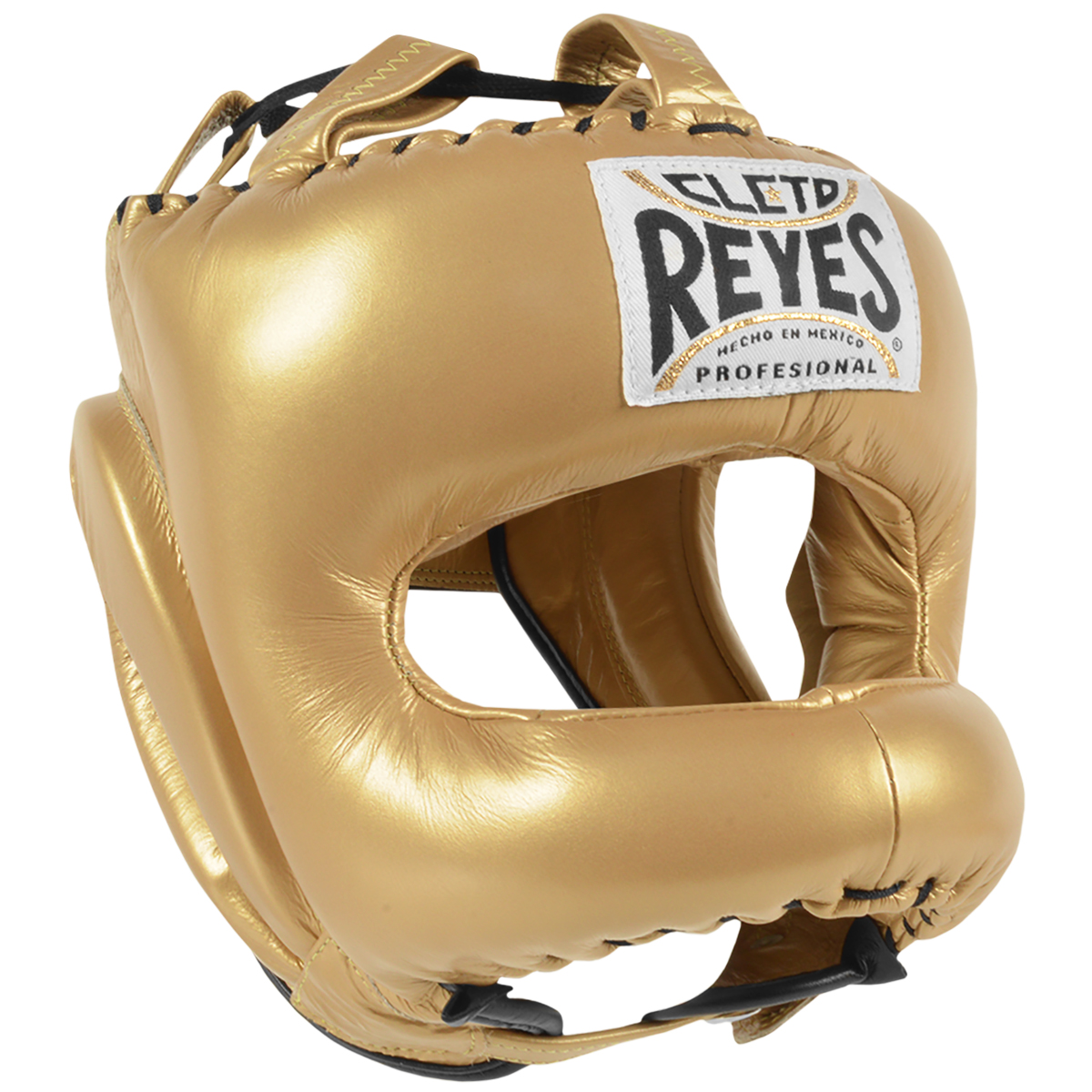 Cleto Reyes Traditional Leather Boxing Headgear w/ Nylon Face Bar - Solid Gold