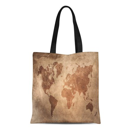 HATIART Canvas Tote Bag Brown World Map Latitude and Longitude Lines on Vintage Reusable Shoulder Grocery Shopping Bags Handbag - image 1 de 1
