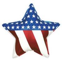 "kelli's shop patriotic star shaped flag balloon (18"" mylar) pkg/1"