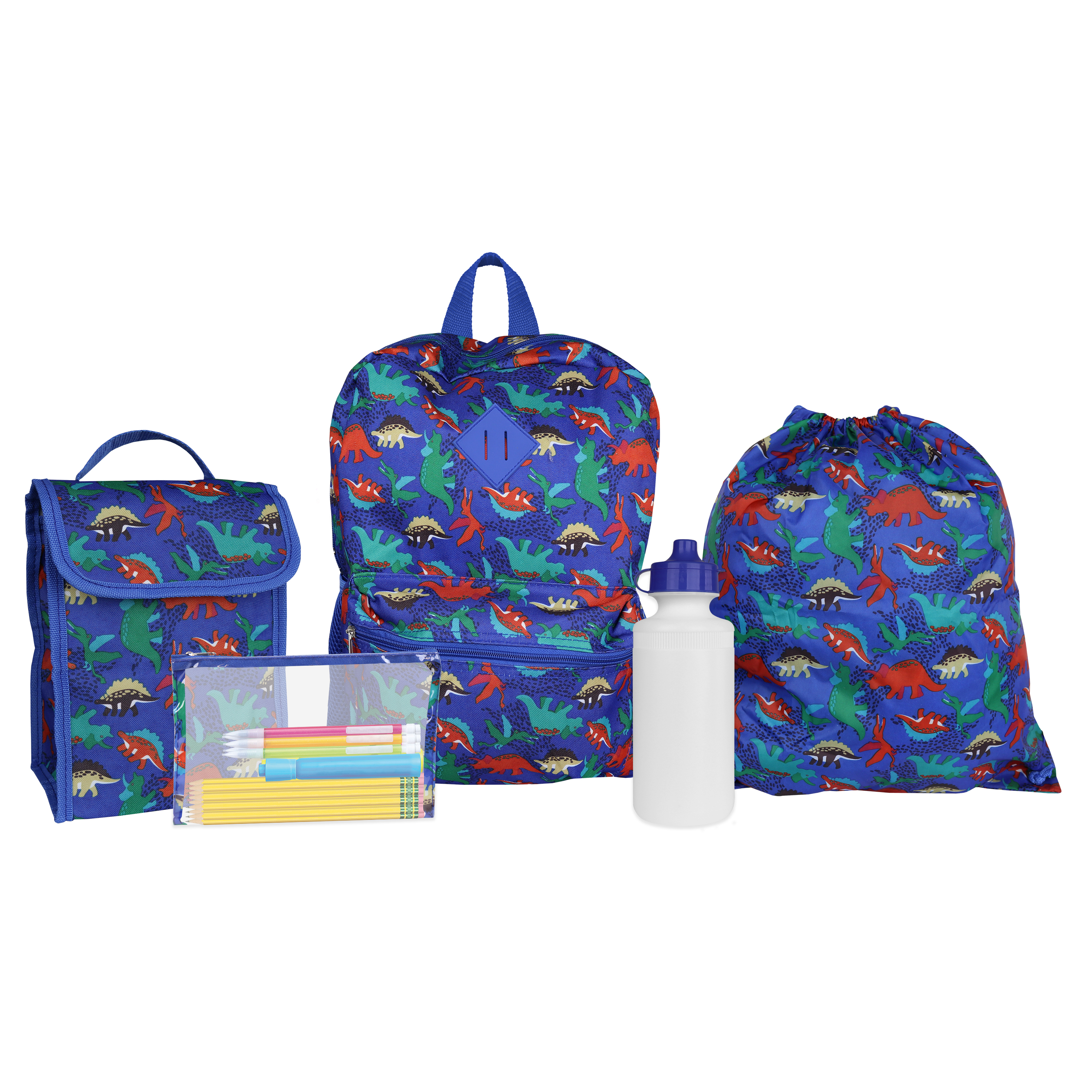 iPack Kids Dino 5 Piece Backpack Set with Lunch Bag, Waterbottle, Cinch bag and Pencil Case