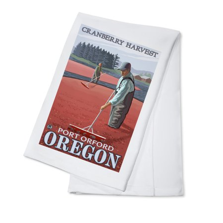 Cranberry Bogs Harvest - Port Orford, Oregon - LP Original Poster (100% Cotton Kitchen Towel) ()