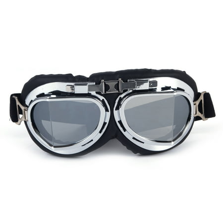 C.F.GOGGLE  Ski Goggles Motorcycle Half Helmet Glasses Goggles Aviator Pilot Biker Vintage Outdoor Blue](Aviator Goggles)