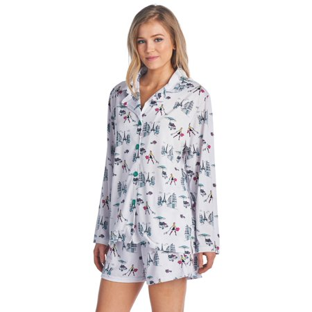 81e1d5e76b7 BedHead Pajamas - BHPJ By Bedhead Pajamas Women's Long Sleeve Pajama Shorts  Set - Multi Teal Paris - Walmart.com