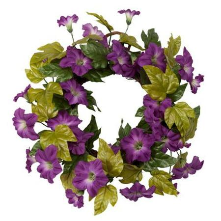 "Purple Petunia Grapevine Wreath by OakRidge™, 16"" Diameter, Silk Floral Home Décor"