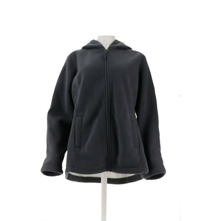 Denim & Co Zip Fleece Jacket Hood Sherpa Lining Women's A209822 - image 1 of 5