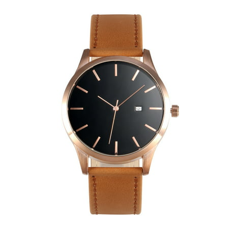 Mens Quartz Wrist Watch Man Brown Leather Date Display Black Dial DAD Gift