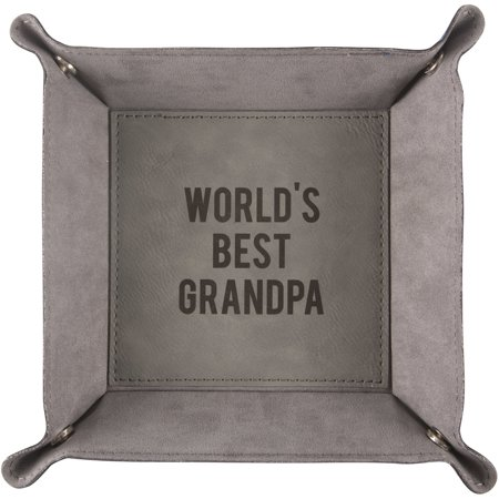 Pavilion - World's Best Grandpa - Large Snap Together Catch All Tray 8.5 Inch ()