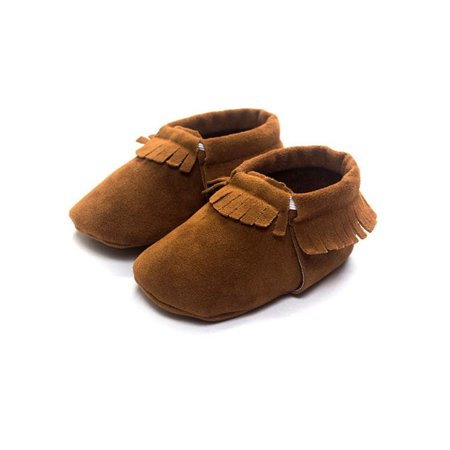 ZEFINE Baby Boys Girls Soft Sole Fringe Slip-on Prewalker Shoes 0-18M