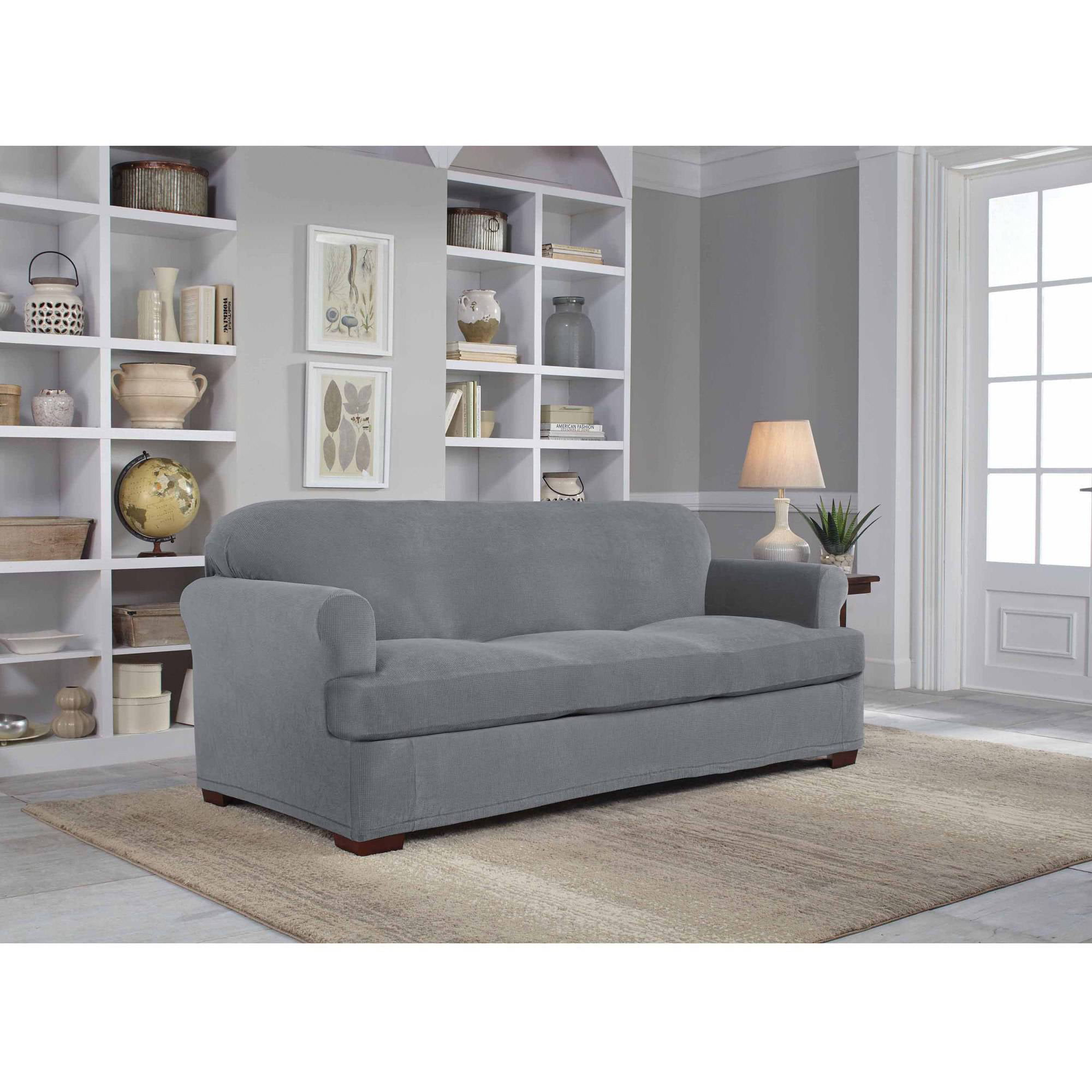 serta stretch grid slipcover sofa 2 piece t cushion walmart com rh walmart com gray linen sofa slipcover gray sofa slipcover walmart
