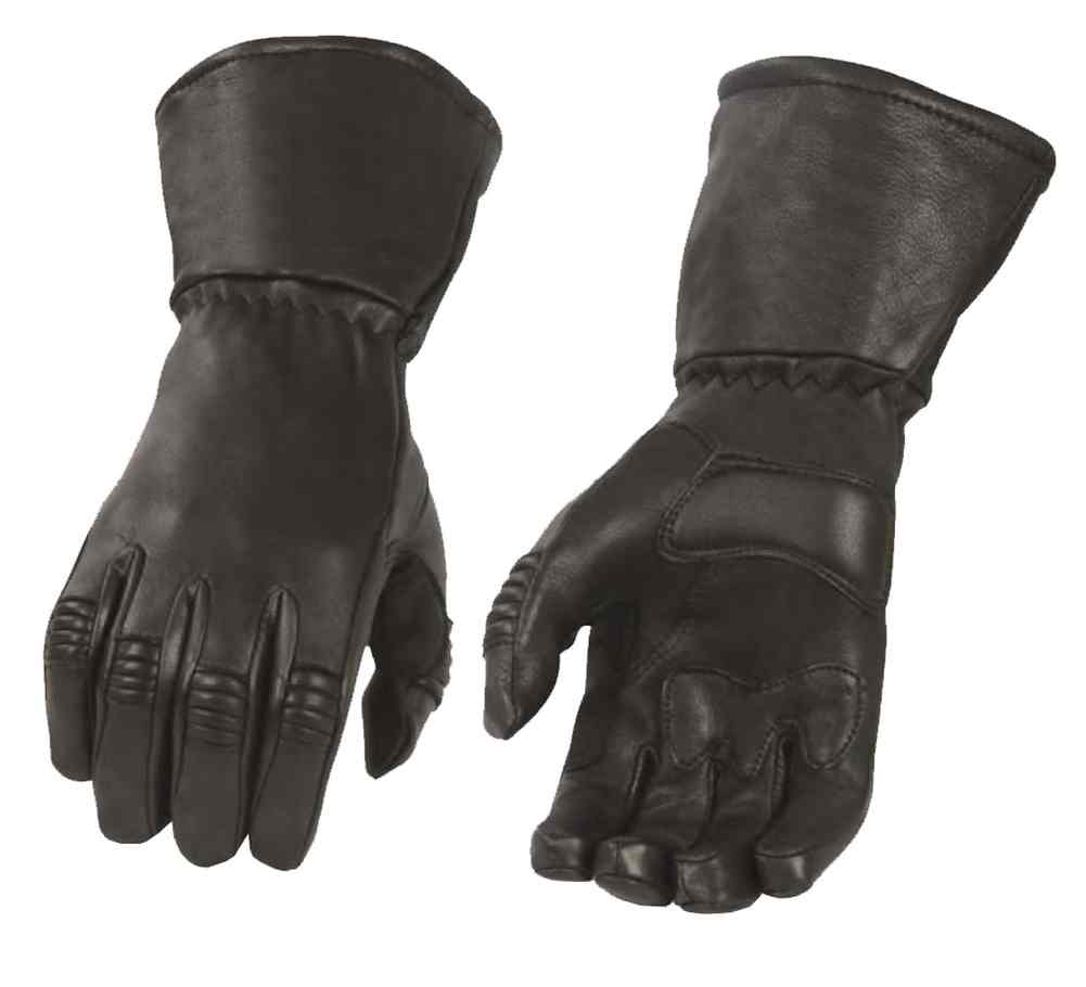 Milwaukee Leather Men's Deerskin Thermal Lined Gauntlet Gloves, Black G039
