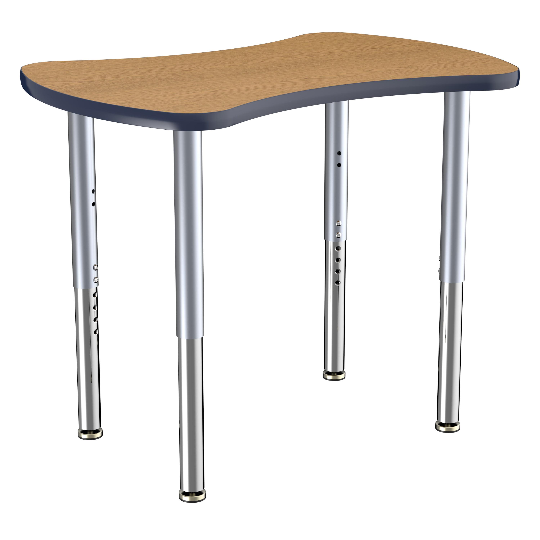 ECR4Kids Collaborative Bowtie Contour Thermo-Fused Adjustable Activity Table Oak/Navy/Silver - Super Leg