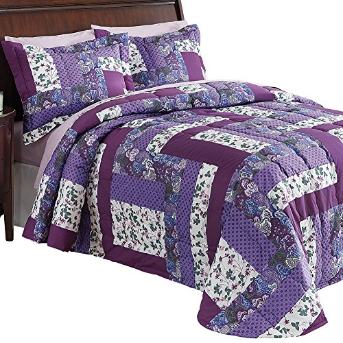 Collections Etc Caledonia Quilted Floral Bedspread, King, Purple