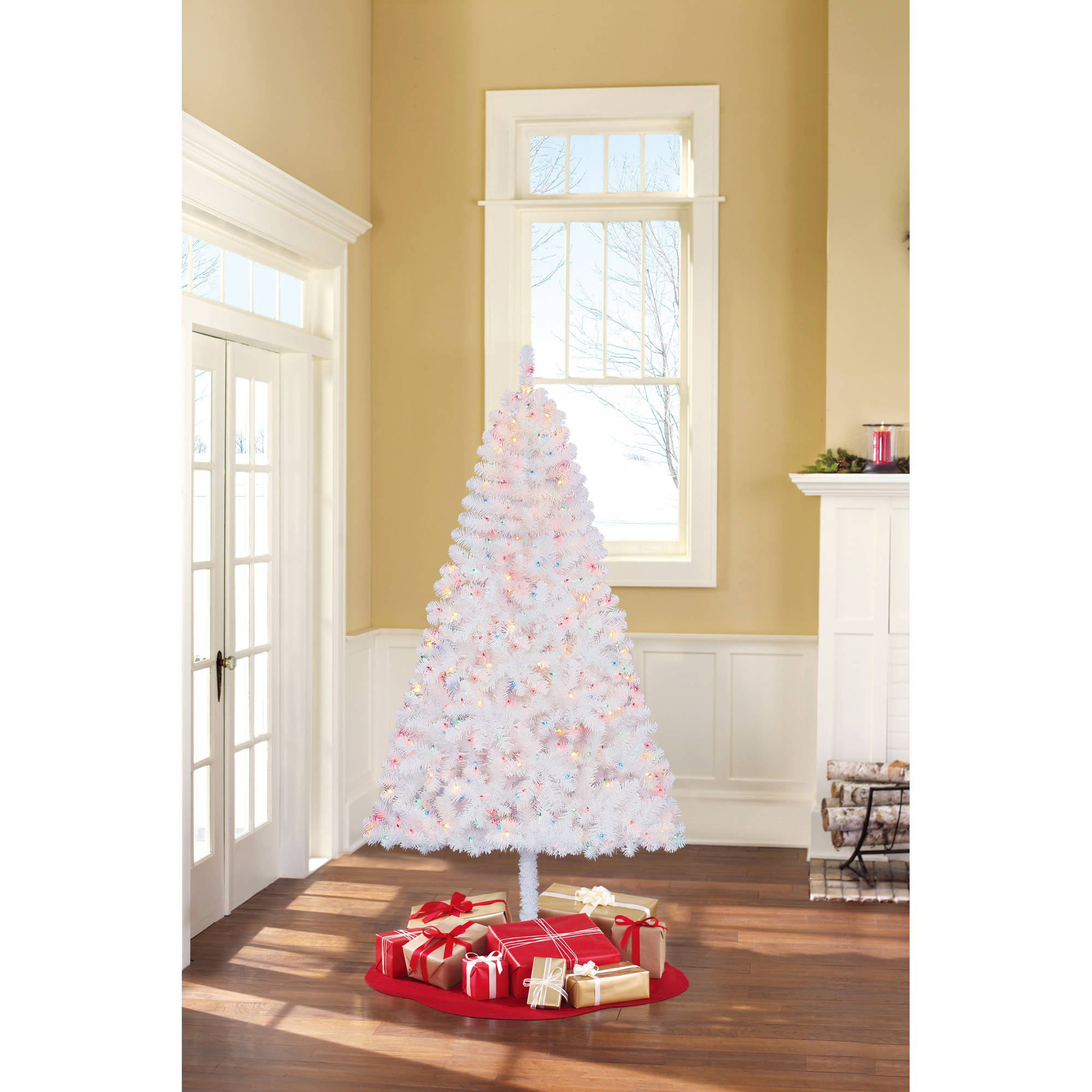 Www.walmart Christmas Trees Part - 47: Holiday Time Pre-Lit 6.5u0027 Madison Pine White Artificial Christmas Tree,  Multi Lights - Walmart.com