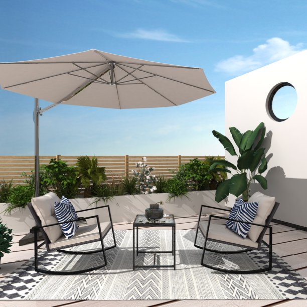 Cloud Mountain Outdoor 3 Piece Bistro Table Set Patio Rocking Chair with Wicker Furniture for Balcony Porch Poolside Lawn Beige