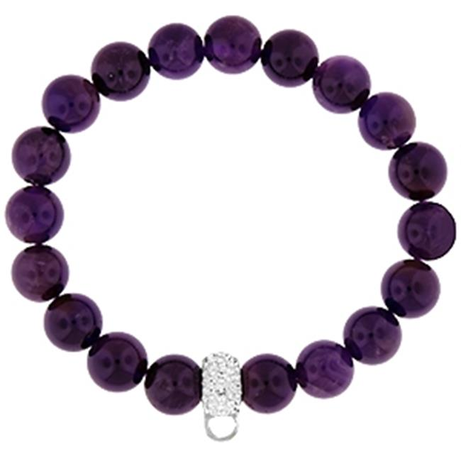 Doma Jewellery MAS00210 Bracelet with Crystal Charm Enhancer - 10mm Amethyst Beads