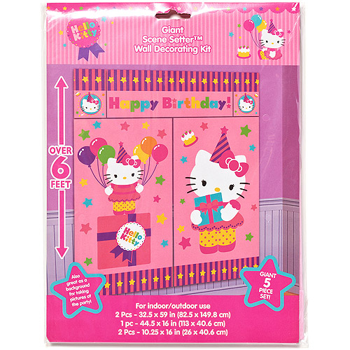 Hello Kitty Pink Birthday Party Wall Decorations 5pc Walmart Com