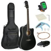 "41"" Beginners Acoustic Guitar Set w/ Case, Strap, Tuner,Strings for Beginners Starter Kids Girls Youths Students Black"