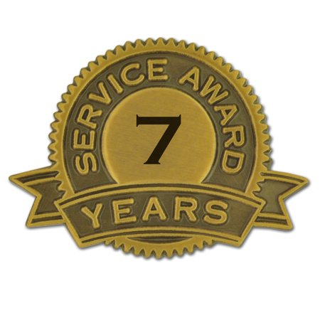 PinMart's 7 Years of Service Award Employee Recognition Gift Lapel Pin - White Corporate Employee Recognition Acrylic