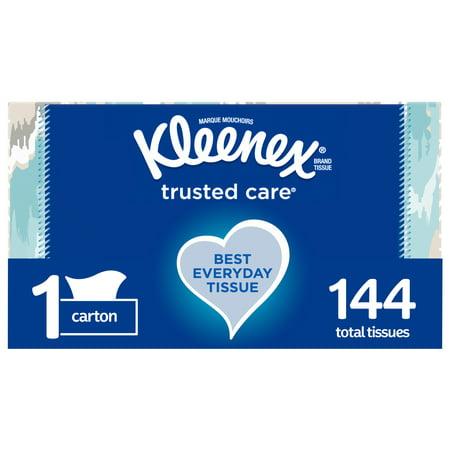 Kleenex Trusted Care Everyday Facial Tissues, 1 Rectangular Box, 144 Tissues