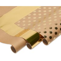 American Greetings Kraft and Gold Polka Dot Christmas Wrapping Paper, 75 sq. ft., 3-Roll