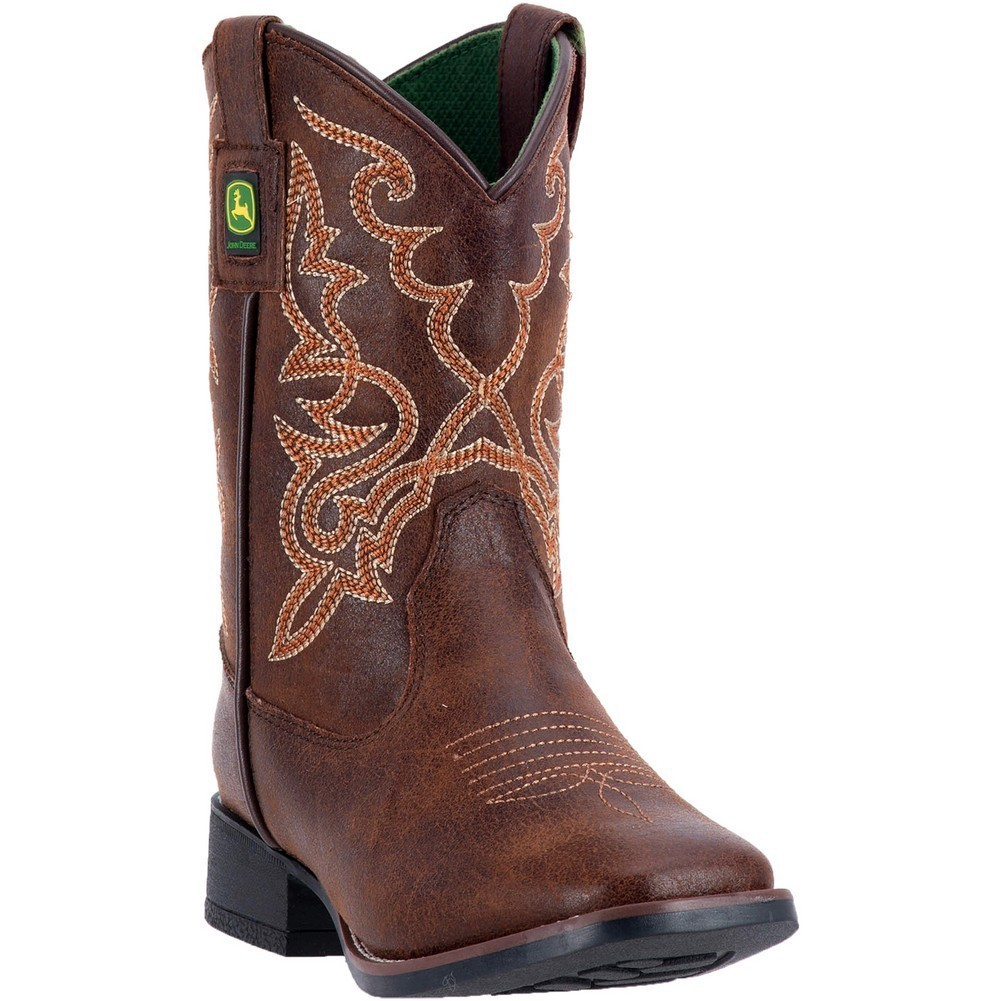 John Deere Boys Girls Dark Rust Stitch Detail Pull-On Boots by John Deere