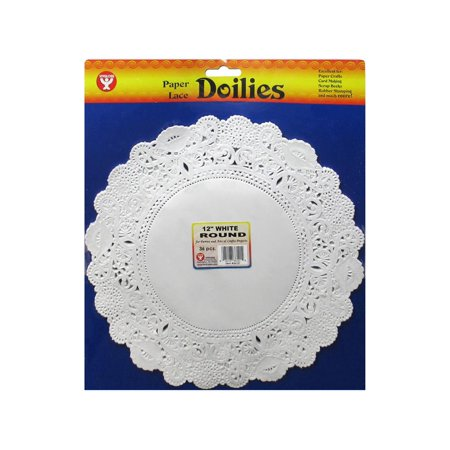 """Hygloss Paper Lace Doilies Round 12"""" 36pc White"""
