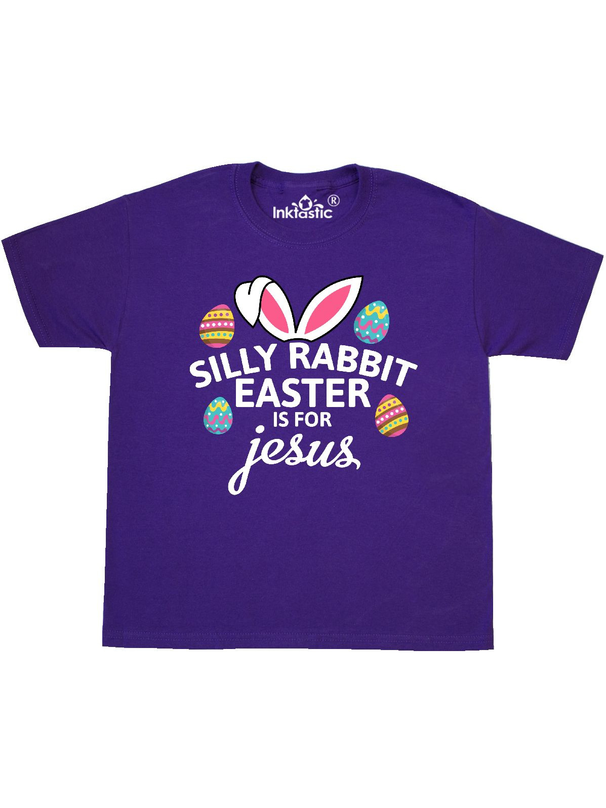 Silly Rabbit Easter is for Jesus with Bunny Head and Easter Eggs Youth T-Shirt