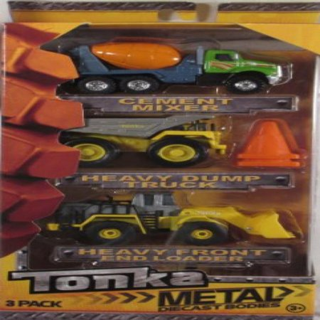 Tonka Metal Diecast Bodies 3 Pack - Cement Mixer, Heavy Dump Truck & Heavy Front End Loader ()