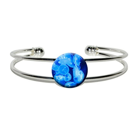 Jellyfish - Blue Jelly Fish Ocean Underwater Silver Plated Metal Cuff Bracelet