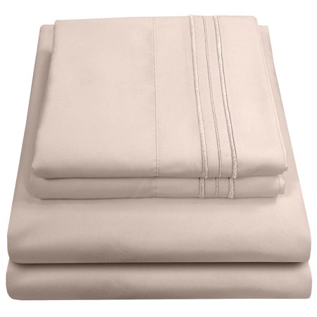 Olivia Branch 1800 Thread Count Microfiber Bed Sheet Set California King - Beige