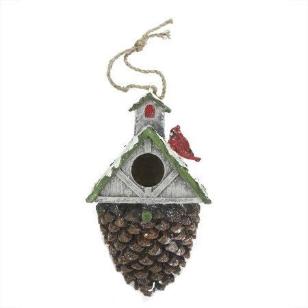 """Image of 10.5"""" Rich Elegance Brown and Green Acorn Bird House with Cardinal Christmas Ornament"""