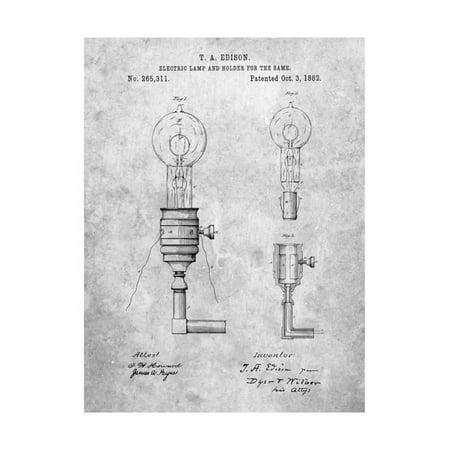 Bulb Us Art (T. A. Edison Light Bulb and Holder Patent Art Print Wall Art By Cole Borders)
