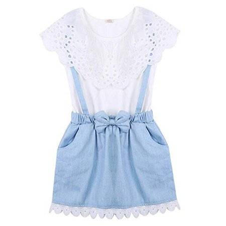 Toddler Baby Girl Sleeveless Lotus Shirt Denim Supsender Skirt Outfit Clothes