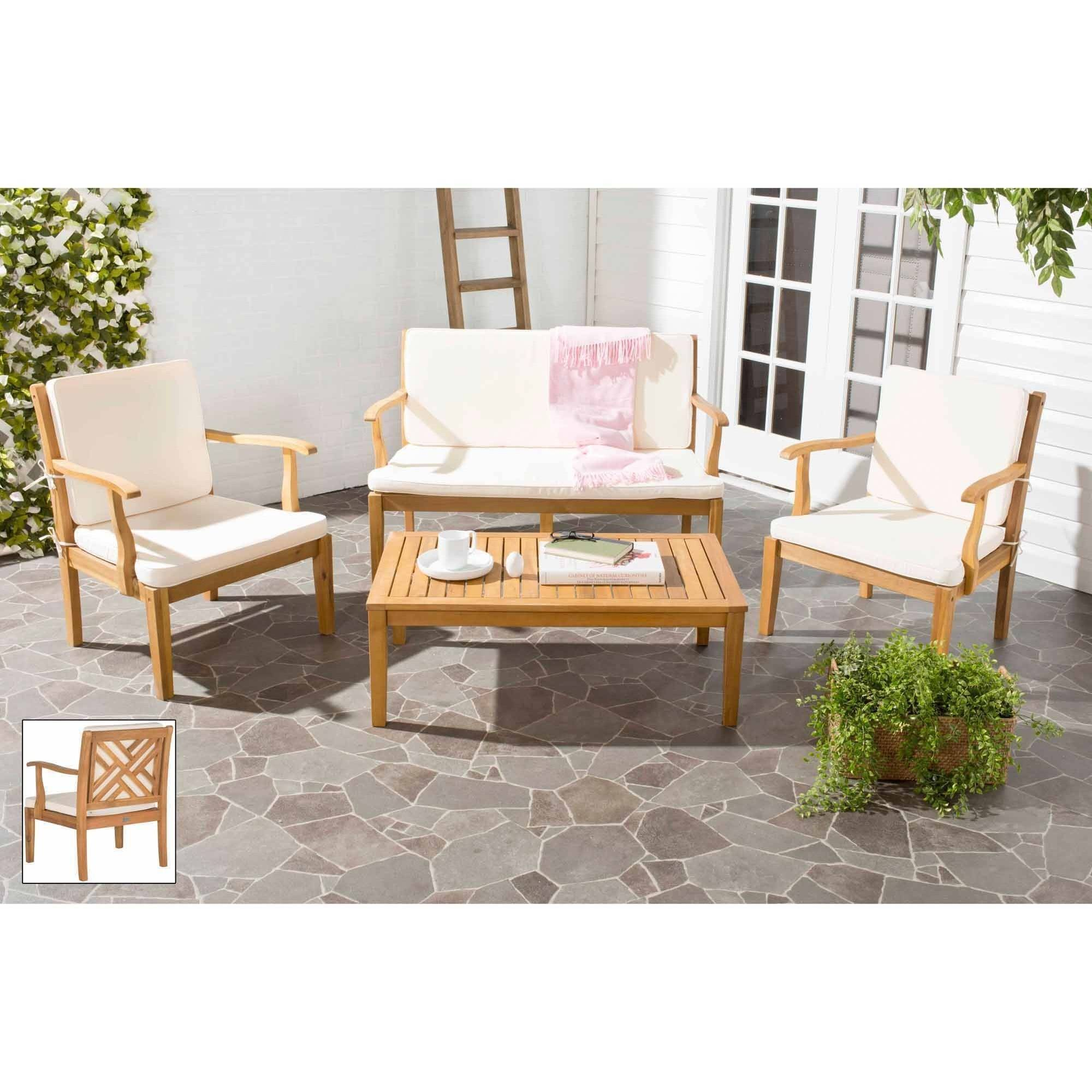 Safavieh Bradbury 4-Piece Outdoor Living Set, Multiple Colors
