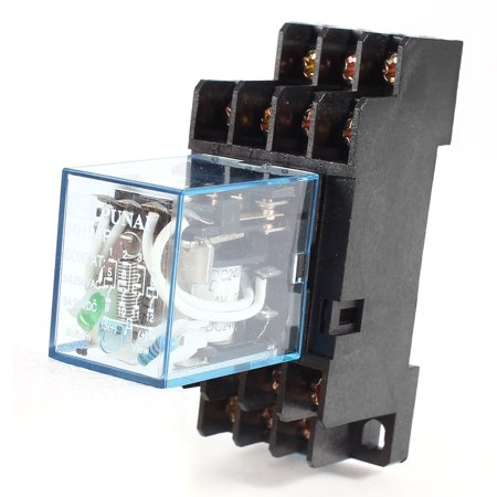 (5A 240VAC/28VDC 24V DC Coil Power Relay 14-Pin 4PDT HH54P w Socket)
