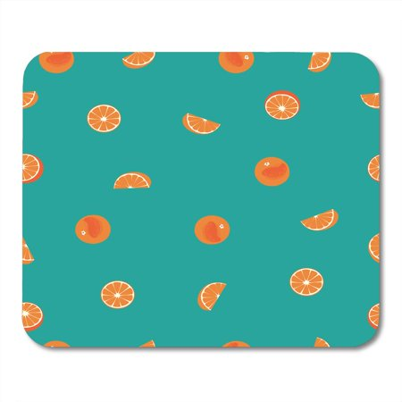 KDAGR Pattern Orange Peel and Slice on Green Teal Beverage Circles Citrus Mousepad Mouse Pad Mouse Mat 9x10 inch