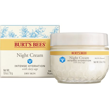 Burt's Bees Intense Hydration Night Cream, Moisturizing Night Lotion, 1.8 oz Aqua Moisturizing Night Cream