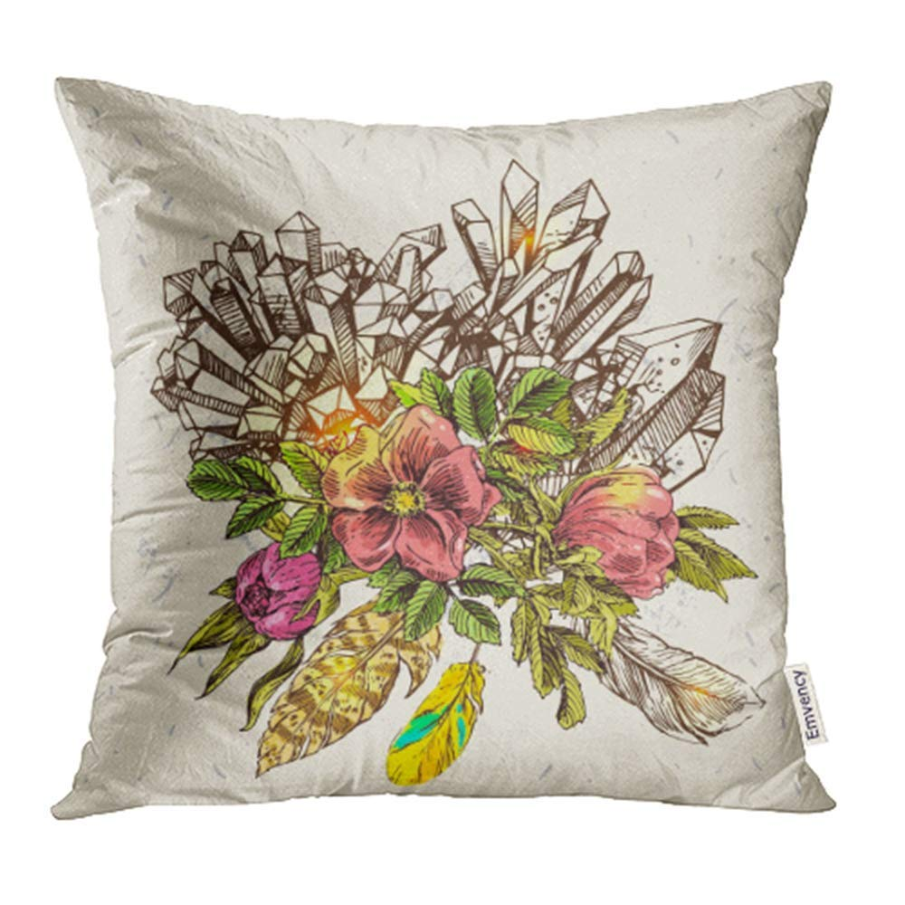 Bsdhome Colorful Beautiful Sketching Of Flowers Crystals And Feathers Boho Drawing Pillow Case Pillow Cover 16x16 Inch Throw Pillow Covers Walmart Canada