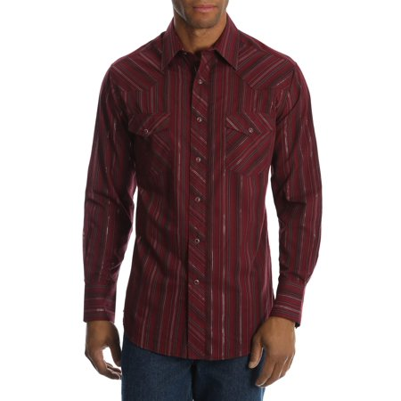 Wrangler Men's and men's big long sleeve striped western shirt, up to size 3xl (Mens Double H Western Dress)