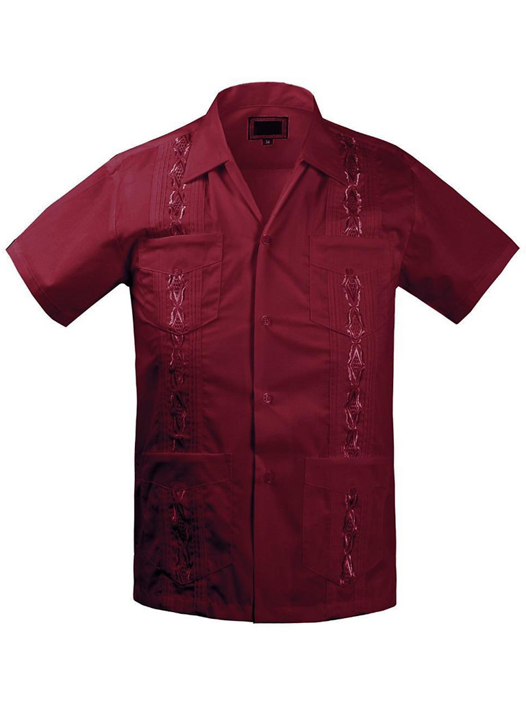 Boys Guayabera Shirts For Kids And Children Short Sleeve Color Red Size-14