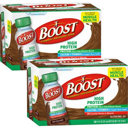 (2 Pack) Boost High Protein, Rich Chocolate, 8 Fl oz Bottles, 12 Ct