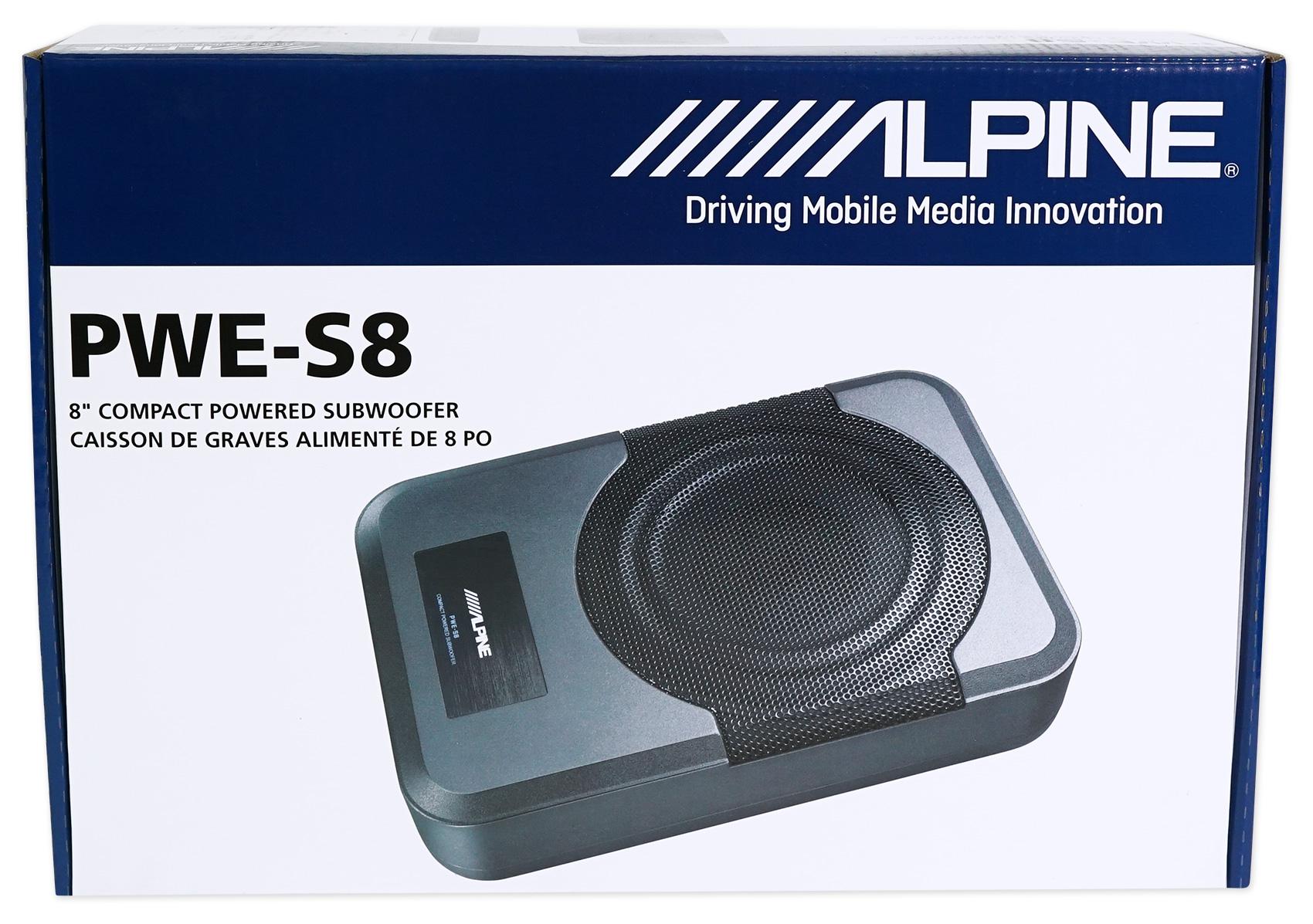 Alpine PWE-S8 Slim Under-Seat 8 120w Powered Car Truck Subwoofer Sub+Amp Kit