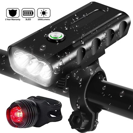 USB Rechargeable Bike Light with Power Bank Function, 3 LED 1000 Lumen Headlight free Taillight Set Portable 360°Rotation Bicycle lights IPX5 Waterproof Hiking Camping Cycling Light Safety