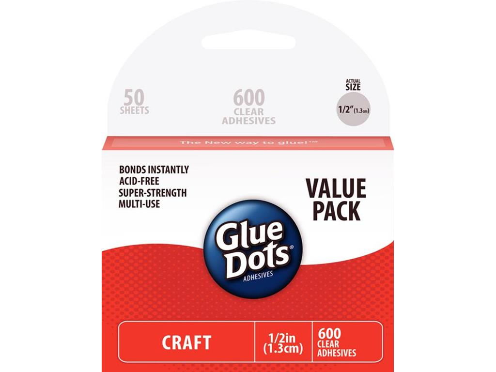 Glue Dots Craft Glue Dot Value Pack, 1 2 Inch, Clear, Pack of 600 by Overstock