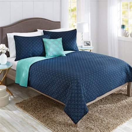 Better Homes & Gardens Solid Chevron Reversible Quilt Full Queen Set, 4 Piece (Melissa Cotton Quilt)