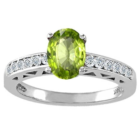 Tommaso Design Oval 8x6mm Genuine Peridot Solitaire Engagement