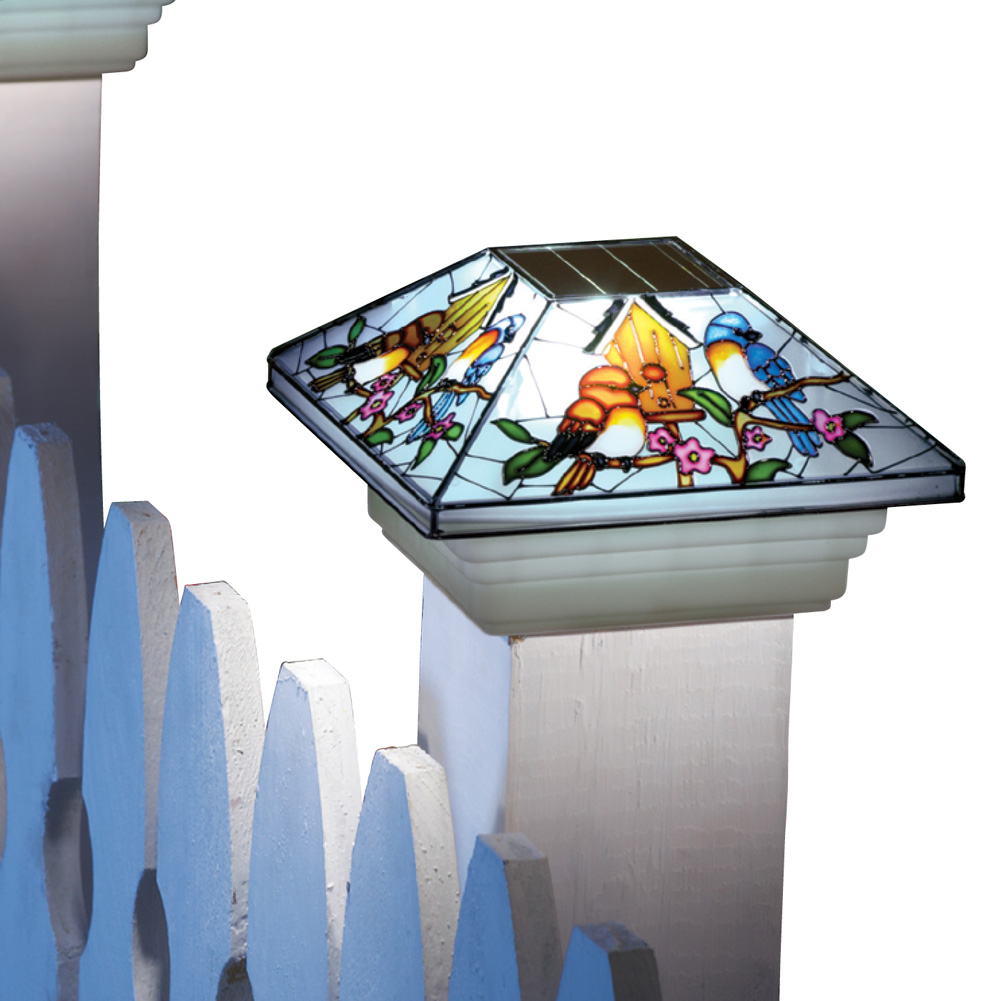 Solar Fence Stained Glass Effect Bird Post Light Cap, Multi