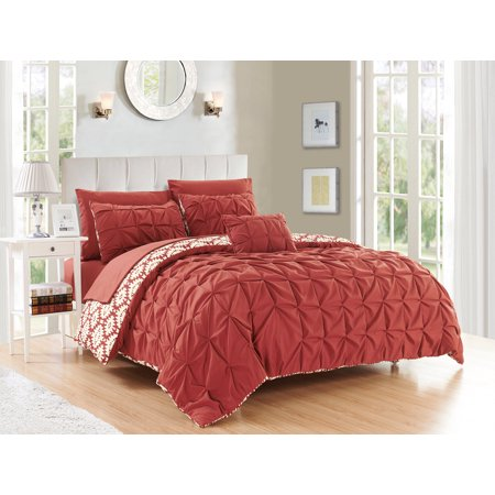 Aqua King Duvet - Chic Home Jana 4 Piece Reversible Duvet Cover Set Microfiber Global Inspired Print with Classic Pleated Pin Tuck Backing Zipper Closure Bedding with Decorative Pillow Shams, Queen Brick Red
