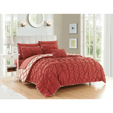 Chic Home Jana 4 Piece Reversible Duvet Cover Set Microfiber Global Inspired Print with Classic Pleated Pin Tuck Backing Zipper Closure Bedding with Decorative Pillow Shams, Queen Brick Red ()